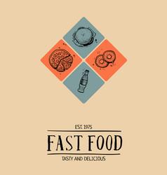 fast food cafe menu cover design vector image