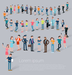 Flat design c people waiting in line vector