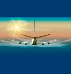 flying airplane in the sky of vector image