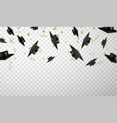flying graduation cap set tossing with confetti vector image
