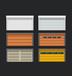 Garage doors set on dark vector