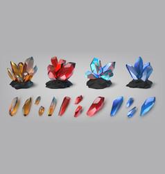 gemstones shiny and colorful treasure precious vector image