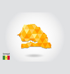 geometric polygonal style map of senegal low poly vector image