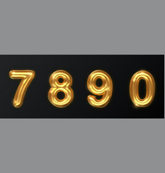 golden numbers set isolated on dark realistic vector image
