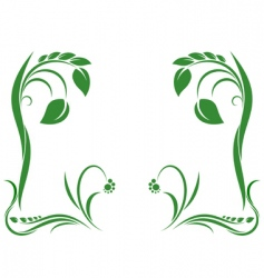 green abstract ornament with leaf vector image vector image