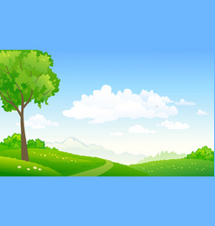 Green hills path vector
