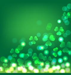 green shamrock bokeh background for st patrick vector image