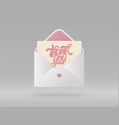 greeting card with phrase thank you in open vector image