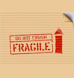 Grunge red cargo box signs fragile arrow vector