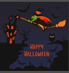 halloween poster with a witch on a broomstick vector image