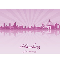 Hamburg skyline in purple radiant orchid vector image