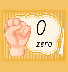 Hand gesture number zero vector
