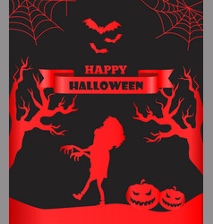 Happy halloween postcard with scary monster vector