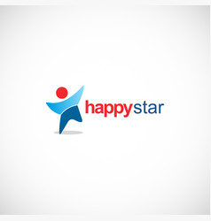 happy star logo vector image