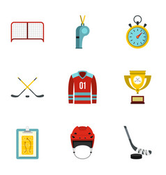Hockey icons set flat style vector