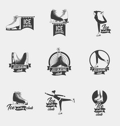 Ice skating logo set vector
