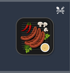 Icon of grilled sausages on pan with sause vector