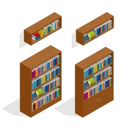 Isometric Bookshelfs set vector image