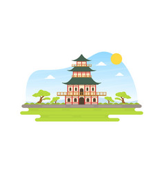 japanese pagoda at spring natural landscape asian vector image