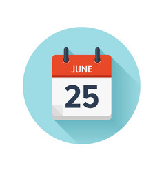 june 25 flat daily calendar icon date and vector image