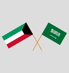 Kingdom of saudi arabia and kuwaiti flags vector