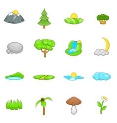 Landscape icons set cartoon style vector image