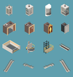 lift isometric icons set vector image