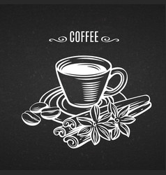 line art cup coffee vector image