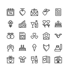 love and valentine line icons 10 vector image