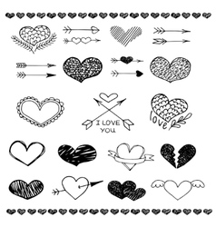 Love heart and arrow sketch set vector