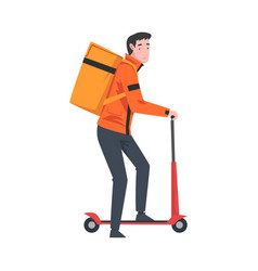 Male courier riding kick scooter with parcel box vector