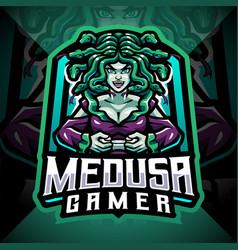 medusa gamer esport mascot logo design vector image