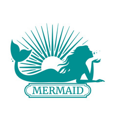 Mermaid silhouette and sun label design vector