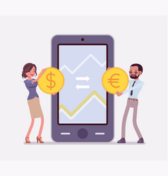 mobile currency exchange dollar and euro pair vector image