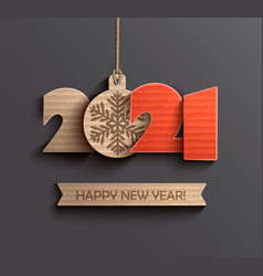 modern happy new year 2021 paper design vector image