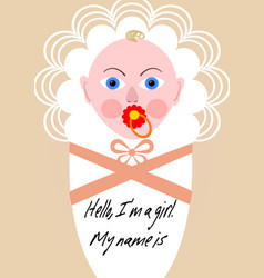 new born girl announcement template baby cartoon vector image