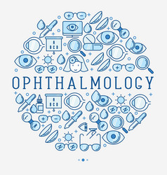 Ophthalmology concept in circle vector