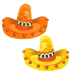 Orange and yellow sambrero in cartoon style vector image