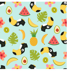 Pattern with toucan and tropical fruits vector