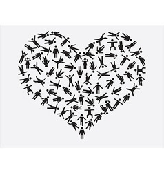 People pictogram heart vector image