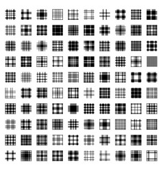 Plaid tartan pattern seamless big set one hundred vector
