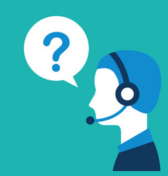 profile operator with headset question mark vector image