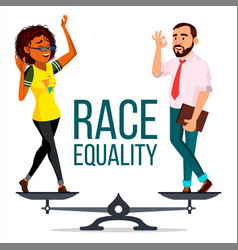 Race equality on scales people different vector