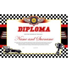 Race winner diploma template racing award vector
