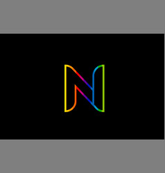 rainbow color colored colorful alphabet letter n vector image