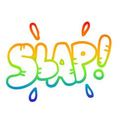 Rainbow gradient line drawing cartoon slap symbol vector