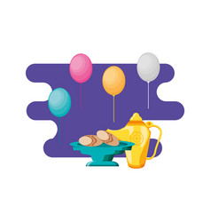 Ramadan kareem traditional food and balloons vector