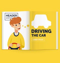 realistic layout magazine open brochure vector image