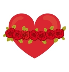 Red heart with roses vector