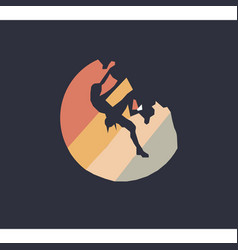 Rock climber silhouette at sunset three colors vector
